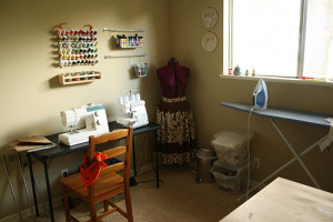 Partially finished craft/sewing room