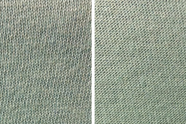 4ec67e679a9 (Left: close up of the right side of a single knit jersey, Right: the wrong  side of the same jersey)