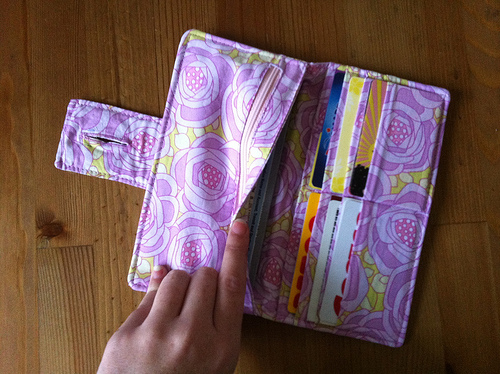 "This wallet makes me think about friendship. I have a friend who uses the wallet that I made for her years ago as her ""Wallet Número Uno"". She shoves a giant stack of credit cards into one side. In the other, she puts receipts, business cards, cash, and even stamps. She has worn this wallet out."