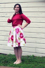 Floral Circle Skirt and Cropped Sweatshirt