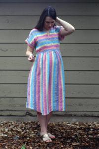 Maternity Chalk and Notch Fringe Dress