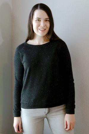 Black Speckle Grainline Linden Sweatshirt