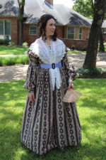 1838 Cotton Print Day Dress and Lacy Fichu